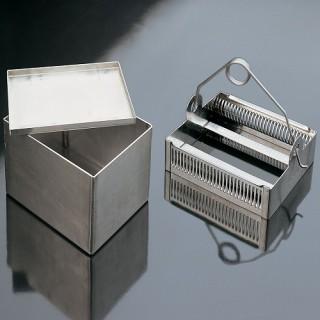 Емкости с корзиной для окрашивания предметного стекла